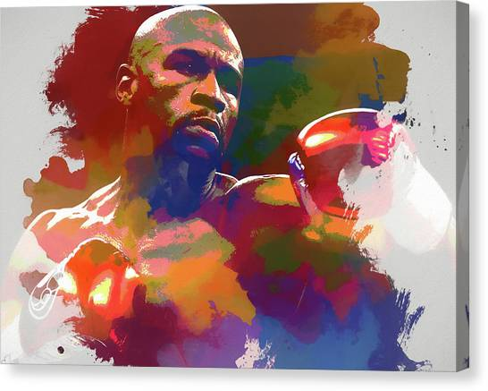 Floyd Mayweather Canvas Print - Mayweather Watercolor by Dan Sproul