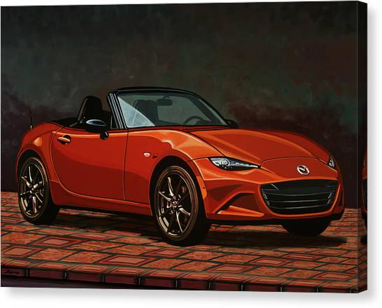 Oldtimers Canvas Print - Mazda Mx-5 Miata 2015 Painting by Paul Meijering