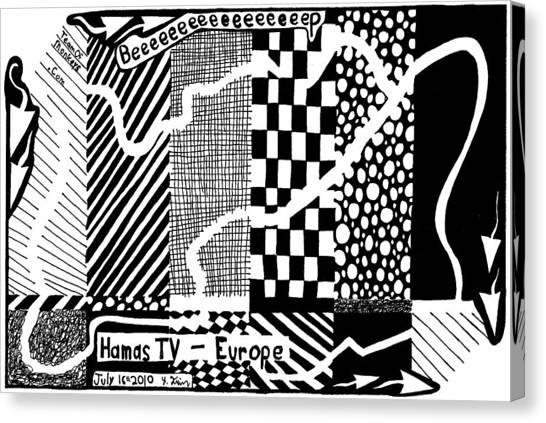 Maze Cartoon Of Color Test Screen For Hamas Tv Europe Canvas Print by Yonatan Frimer Maze Artist