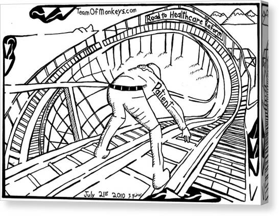 Obamacare Canvas Print - Maze Cartoon Of Patient On The Rollercoaster Of Healthcare Reform By Yonatan Frimer by Yonatan Frimer Maze Artist