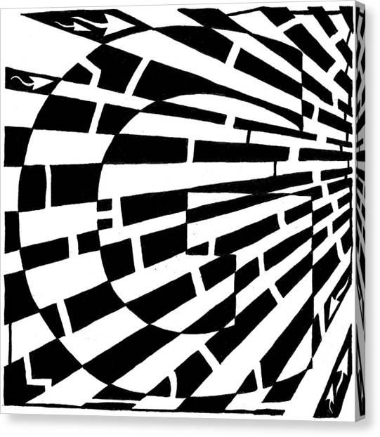 Maze Of Uppercase G Canvas Print by Yonatan Frimer Maze Artist