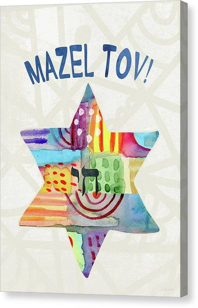 Bat Canvas Print - Mazel Tov Colorful Star- Art By Linda Woods by Linda Woods