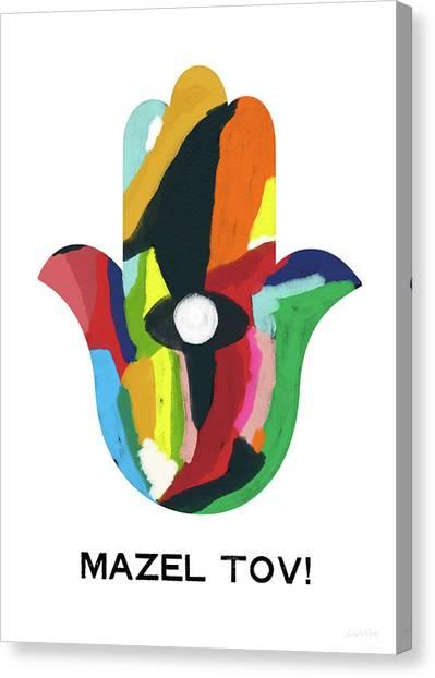 Bat Canvas Print - Mazel Tov Hamsa- Art By Linda Woods by Linda Woods