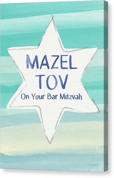 Birthday Gift Canvas Print - Mazel Tov On Your Bar Mitzvah-  Art By Linda Woods by Linda Woods