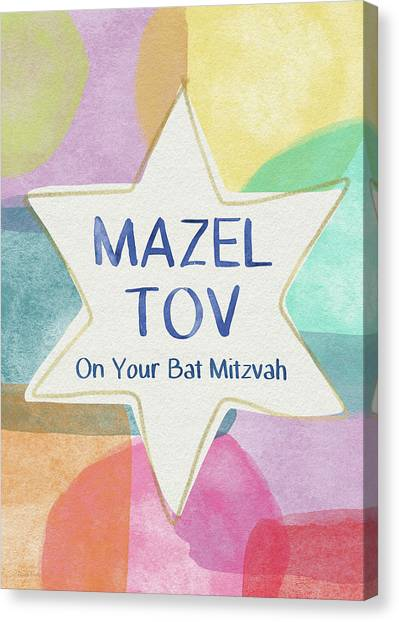 Bat Canvas Print - Mazel Tov On Your Bat Mitzvah- Art By Linda Woods by Linda Woods