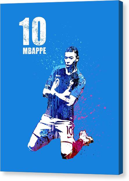 Andres Iniesta Canvas Print - Mbappe On Blue by Art Popop