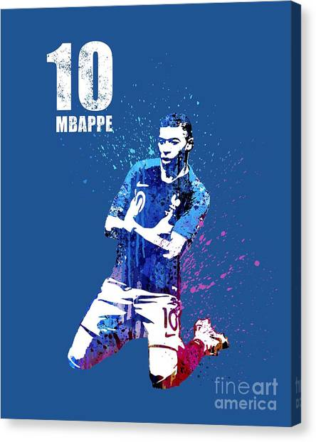 Andres Iniesta Canvas Print - Mbappe On Blue#2 #world Cup 2018 #france by Art Popop