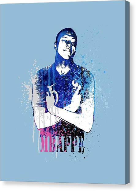 Andres Iniesta Canvas Print - Mbappe #on Light Blue #world Cup 2018 #france by Art Popop