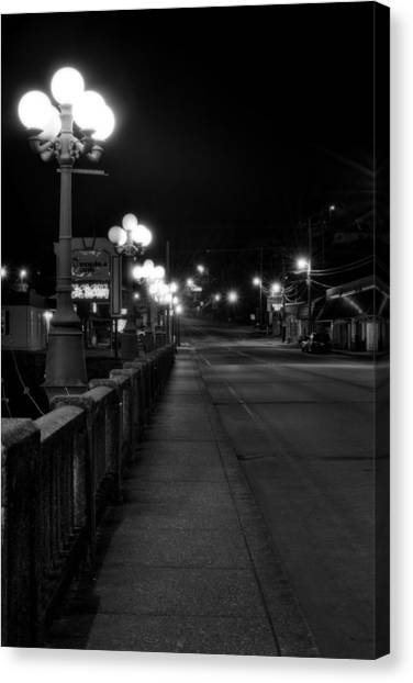 Mccaysville Bridge At Night In Black And White Canvas Print by Greg Mimbs