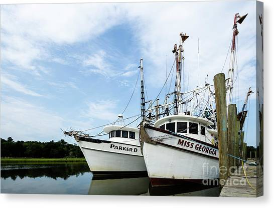 Shrimp Boats Canvas Print - Mc Clellanville Shrimpers by DiFigiano Photography