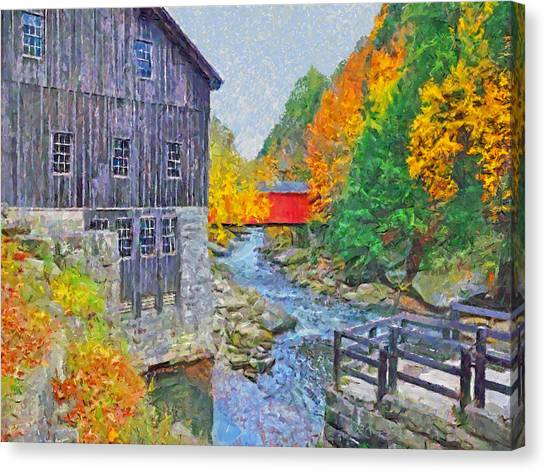 Canvas Print featuring the digital art Mcconnells Mill State Park  by Digital Photographic Arts