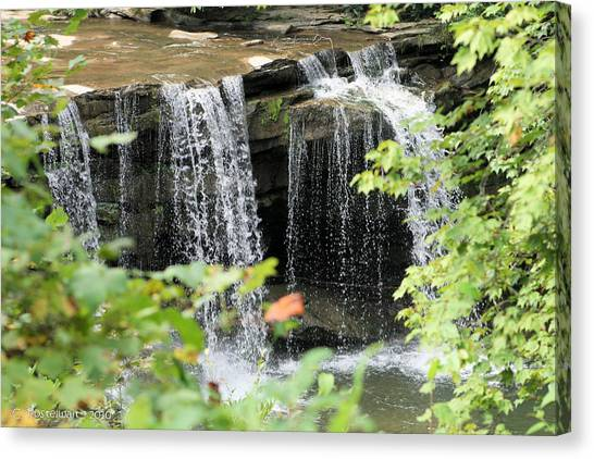 Mccoy Falls From The Road Canvas Print by Carolyn Postelwait