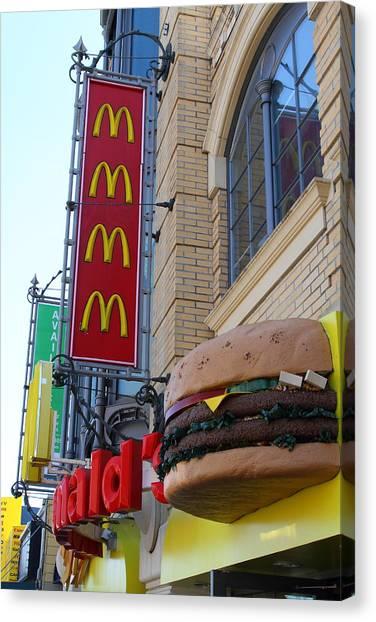 Mcdonalds Hamburger Restaurant . Fishermans Wharf . San Francisco California . 7d14249 Canvas Print by Wingsdomain Art and Photography