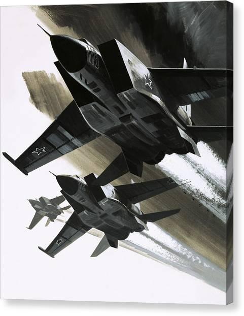 Eagle In Flight Canvas Print - Mcdonnell Douglas F15 Eagle Jet Fighter by Wilf Hardy