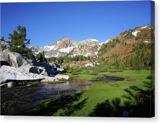Mcgee Creek Below Red And White Mountain Canvas Print by Dale Matson