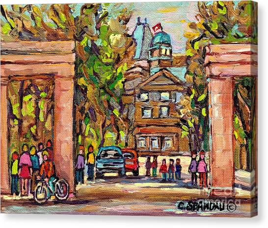 Mcgill Gates  Entrance Of Mcgill University Montreal Quebec Original Oil Painting Carole Spandau Canvas Print
