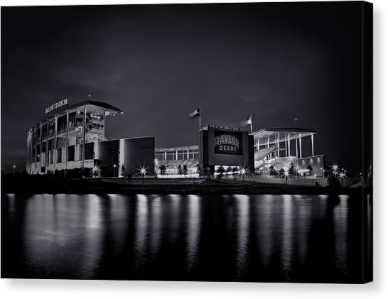 Baylor University Canvas Print - Mclane Stadium - Bw No. 1 by Stephen Stookey