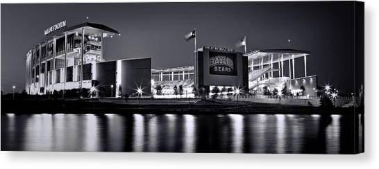 Baylor University Canvas Print - Mclane Stadium Bw Panoramic by Stephen Stookey