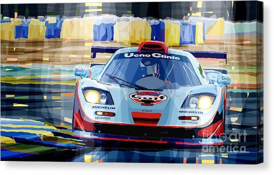 Racing Canvas Print - Mclaren Bmw F1 Gtr Gulf Team Davidoff Le Mans 1997 by Yuriy Shevchuk