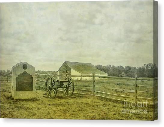 Us Civil War Canvas Print - Mcpherson Barn And Cannon Gettysburg  by Randy Steele