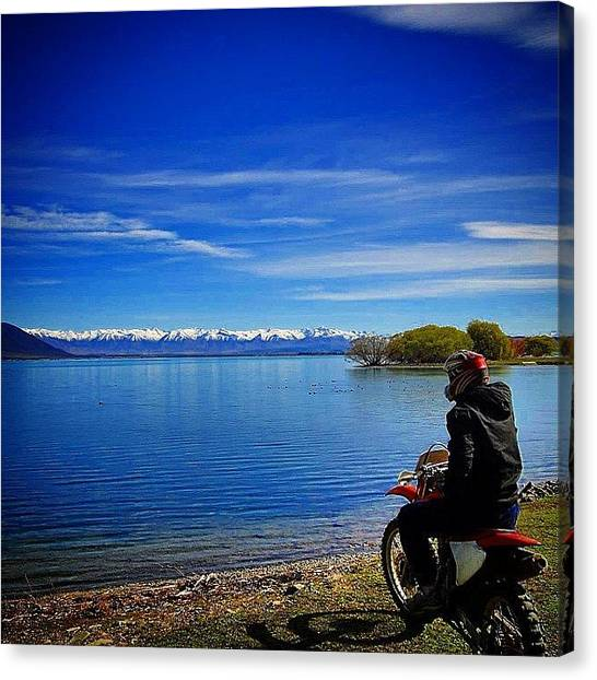 Dirt Bikes Canvas Print - Me Admiring The View! Great Few Days At by Dom Askins