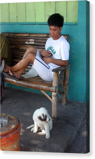 Me And My Pup Canvas Print by Jez C Self