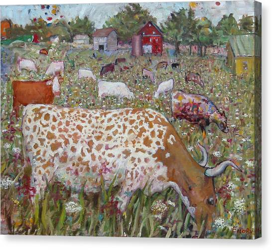 Meadow Farm Cows Canvas Print