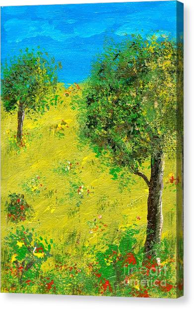 Meadow With Trees Canvas Print by Sascha Meyer