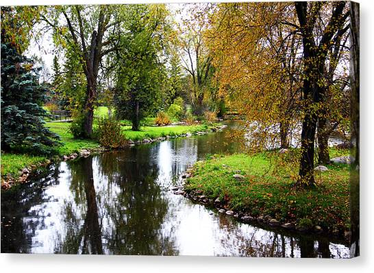 Meandering Creek In Autumn Canvas Print
