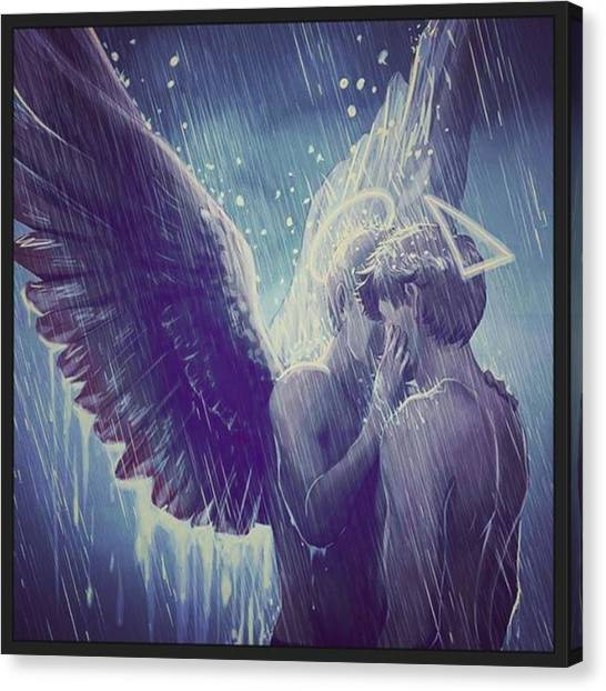 Gay Pride Canvas Print - Me And My Angel  by Oscar Lopez