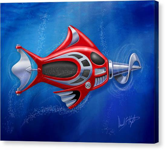 Canvas Print - Mechanical Fish 1 Screwy by David Kyte