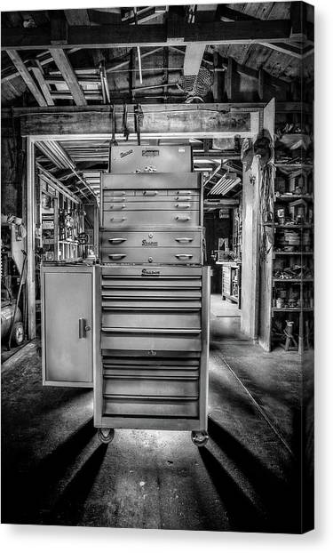 Light Paint Canvas Print - Mechanics Toolbox Cabinet Stack In Garage Shop In Bw by YoPedro