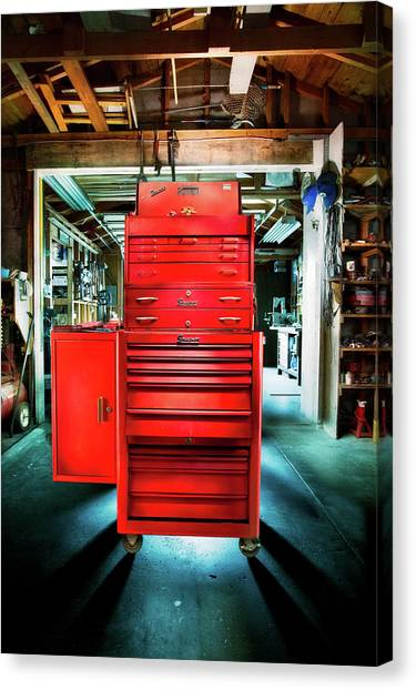 Light Paint Canvas Print - Mechanics Toolbox Cabinet Stack In Garage Shop by YoPedro