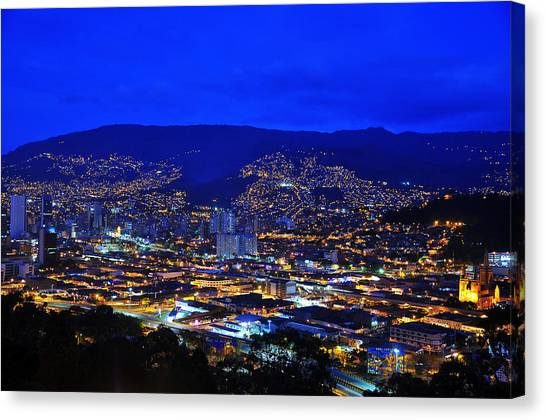 Colombian Canvas Print - Medellin Colombia At Night by Jess Kraft