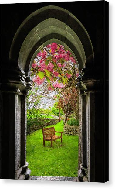 Canvas Print featuring the photograph Medieval Abbey In Irish Spring by James Truett