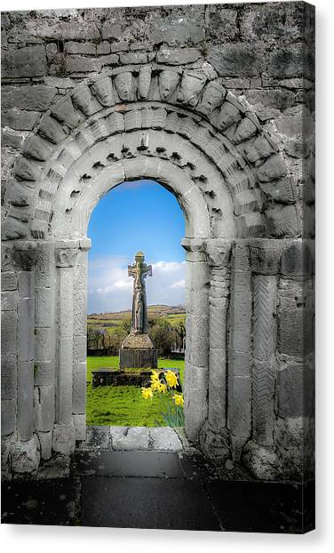 Medieval Arch And High Cross, County Clare, Ireland Canvas Print