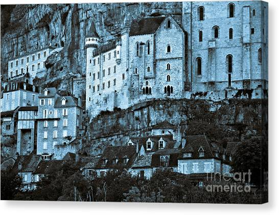 Medieval Castle In The Pilgrimage Town Of Rocamadour Canvas Print