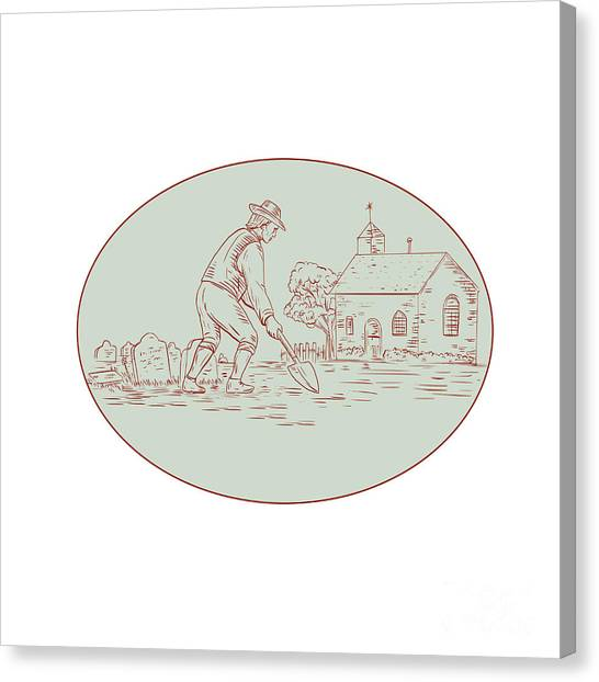 Undertaker Canvas Print - Medieval Grave Digger Shovel Oval Drawing by Aloysius Patrimonio