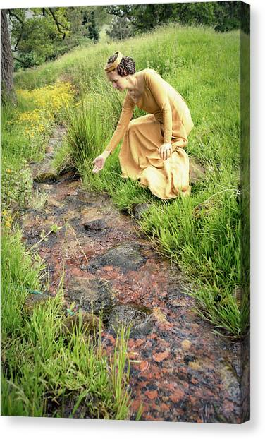 Medieval Lady By A Stream Canvas Print