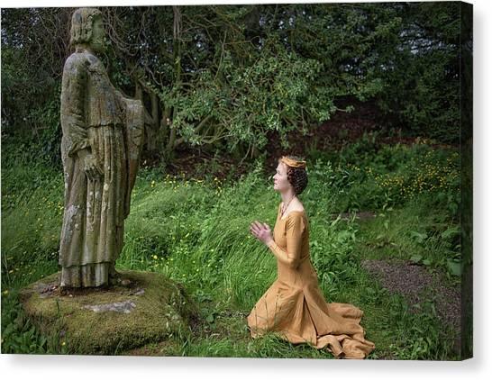 Medieval Lady Praying To Saint Ninian 2 Canvas Print