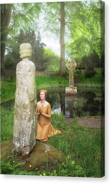 Medieval Lady Praying To Saint Ninian Canvas Print