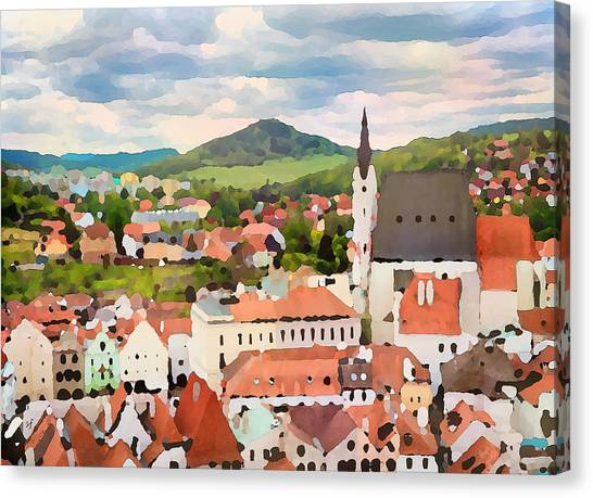 Canvas Print featuring the digital art Medieval Village  by Shelli Fitzpatrick