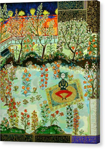 Meditating Master In Courtyard Canvas Print by Maggis Art
