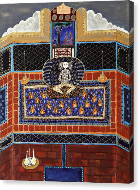 Meditating Master In Tiled Courtyard Canvas Print by Maggis Art
