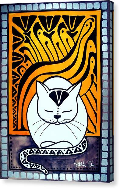 Meditation - Cat Art By Dora Hathazi Mendes Canvas Print