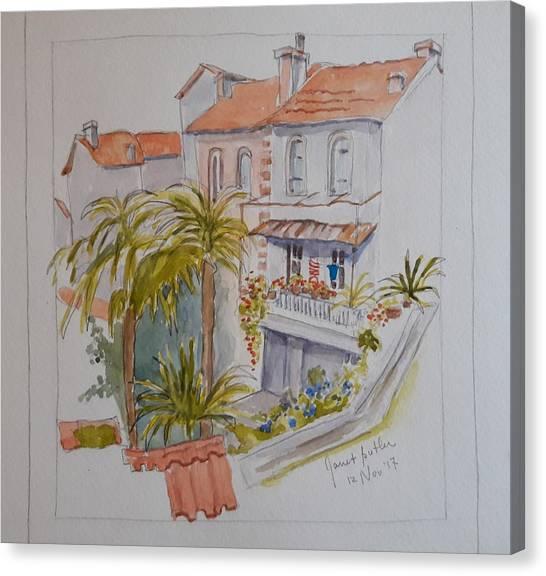 Mediterranean Villa Canvas Print by Janet Butler