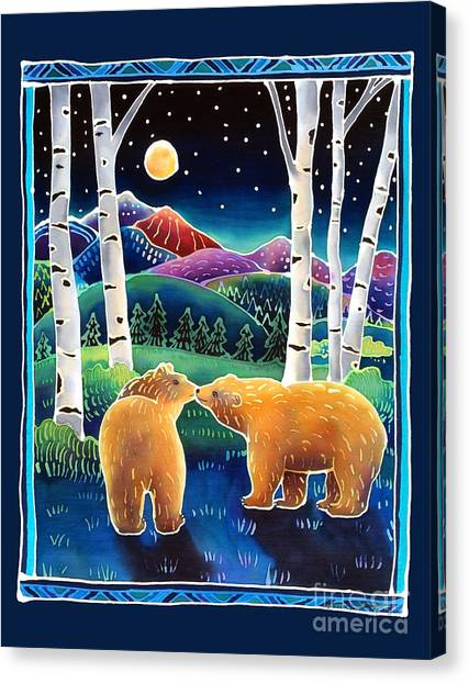 Brown Bears Canvas Print - Meeting In The Moonlight by Harriet Peck Taylor