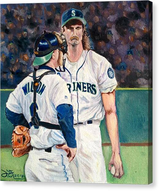 Seattle Mariners Canvas Print - Meeting On The Mound by Donovan Furin