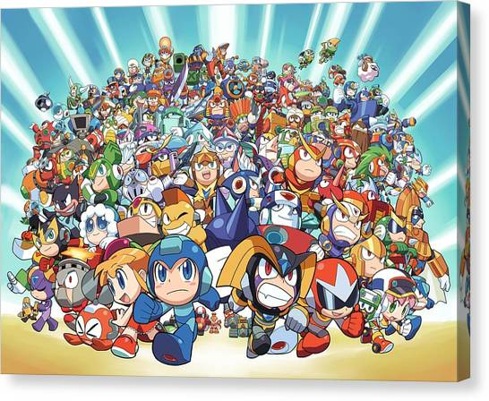 Mega Man Canvas Print - Mega Man Chibi Full by Sandra Rodriguez