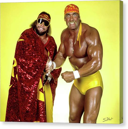 Hulk Hogan Canvas Print - Mega Powers by Sebastian Plat